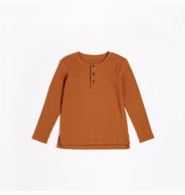 Autumn Brown Modal Rib Henley Top