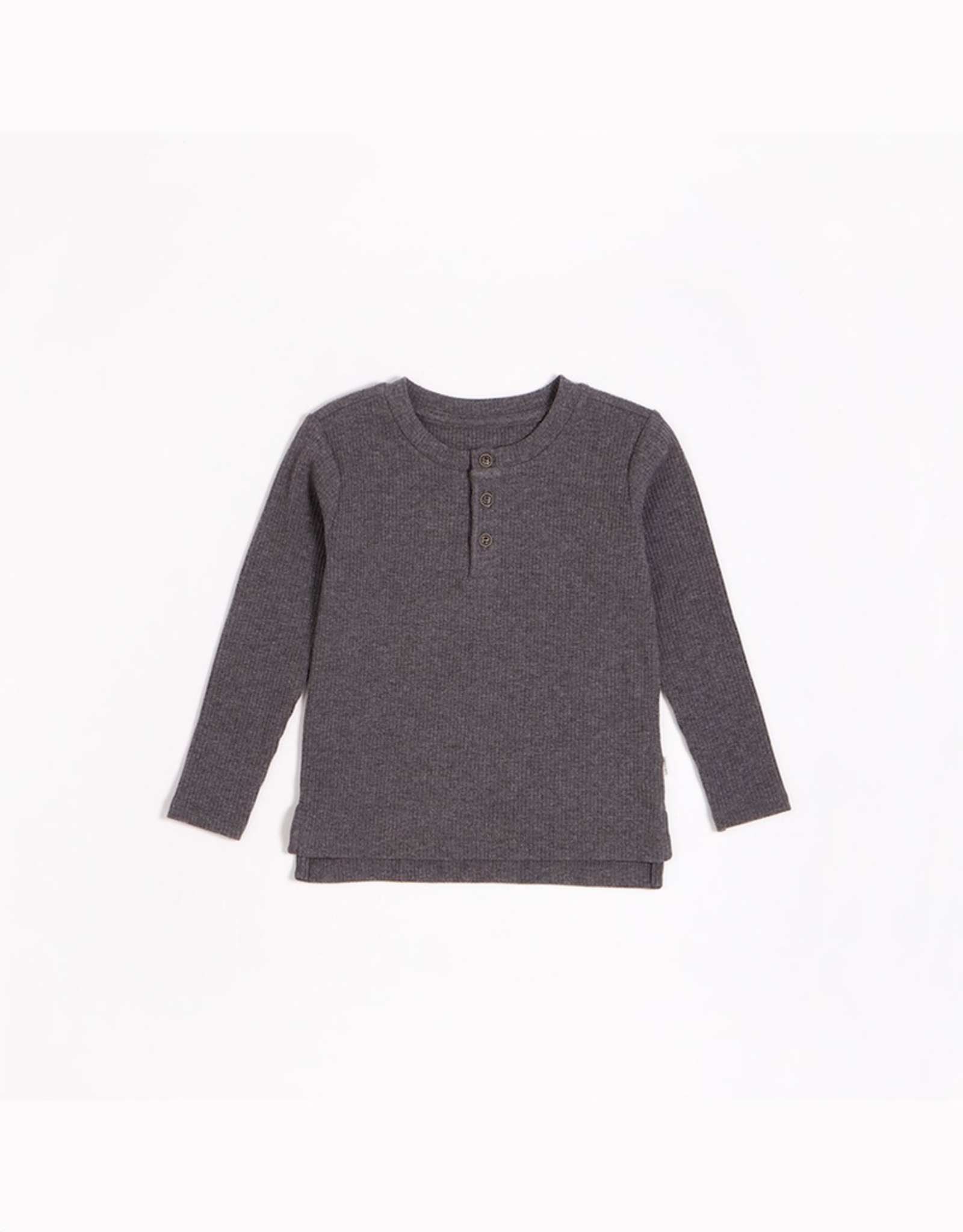 Dark Grey Modal Rib Henley Top