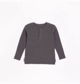 Dark Grey Modal Rib Henley Top