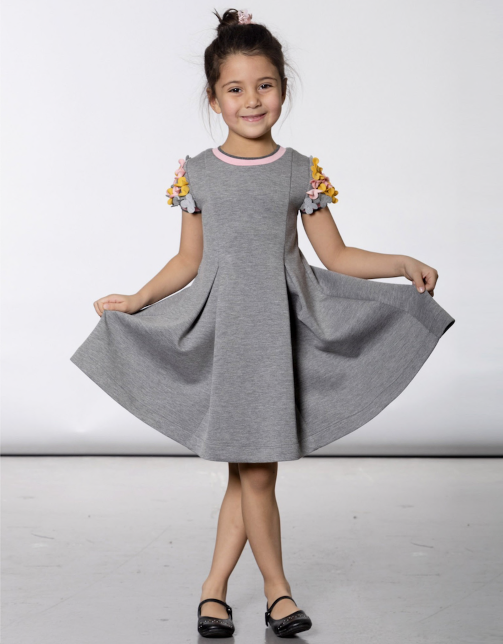 Deux Par Deux Grey Neoprene Dress With Flowers Applique