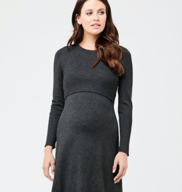Ripe Maternity Molly Knit Nursing Dress, Charcoal Marle