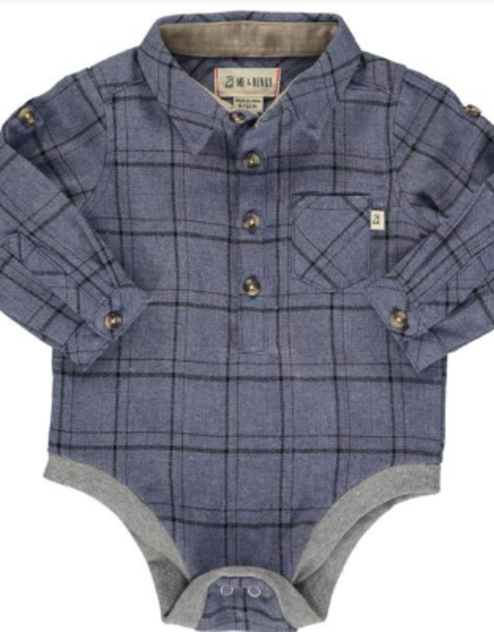 Me & Henry Green/Grey Plaid Woven Onesie