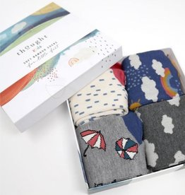 Thought Socks Overcast Bamboo Kids Weather Socks Gift 4 pack