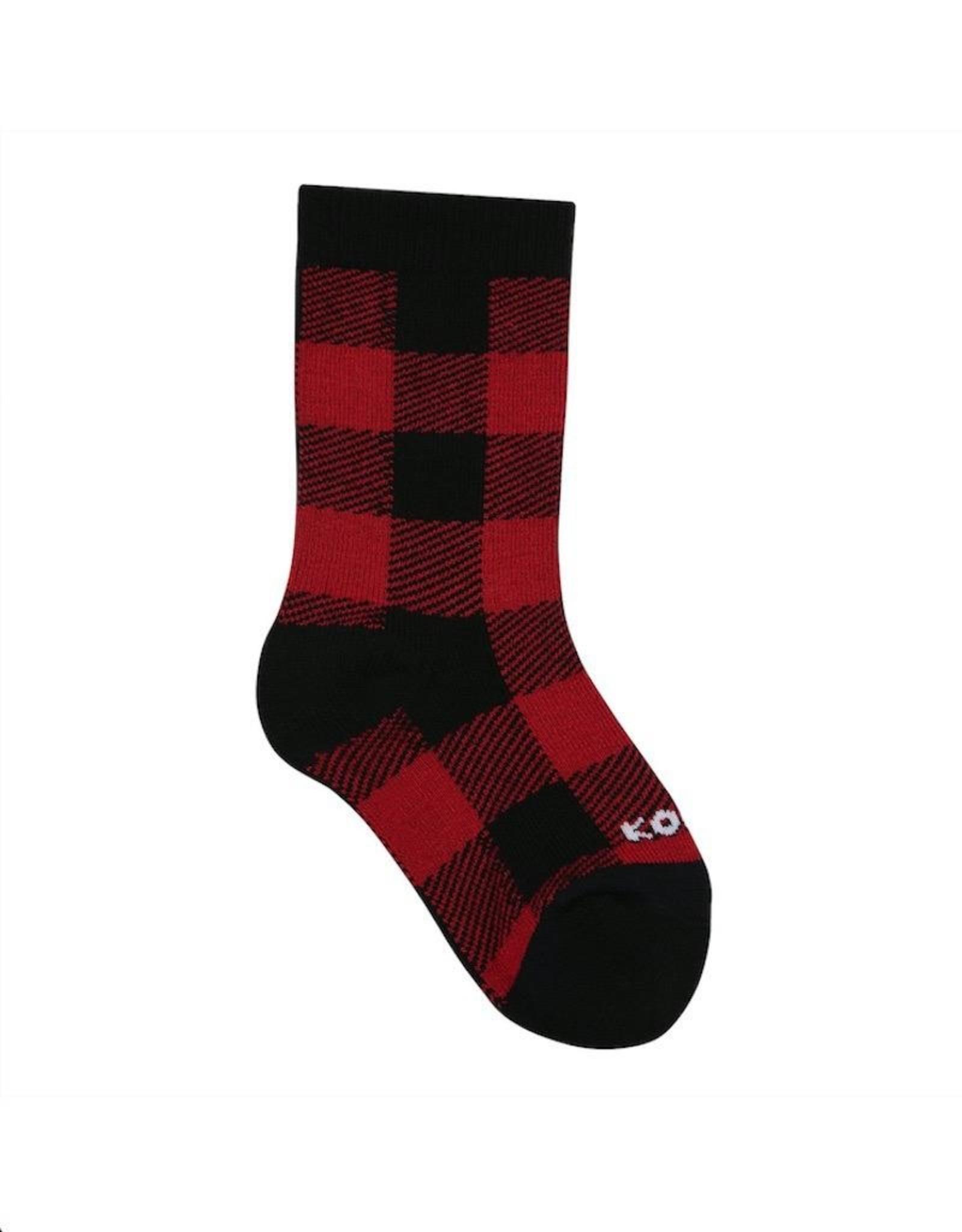 Kombi The Lodge Children's Socks Red Buffalo Plaid