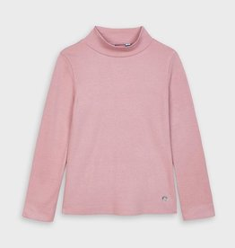 Mayoral Mock Turtleneck Ribbed T-shirt In Blush