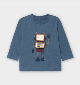 Mayoral Long Sleeved Robot T-Shirt in Lead