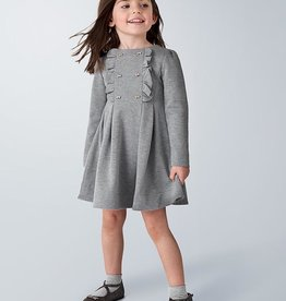 Mayoral Pleated Knitted Dress in Steel
