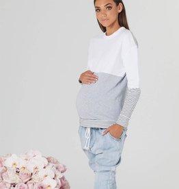 Legoe Heritage Nation Maternity and Nursing Sweater in White Grey & White