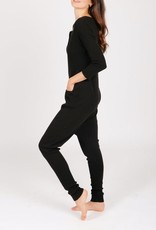 Smash + Tess The S+T Coffee Time Waffle Romper in Midnight Black