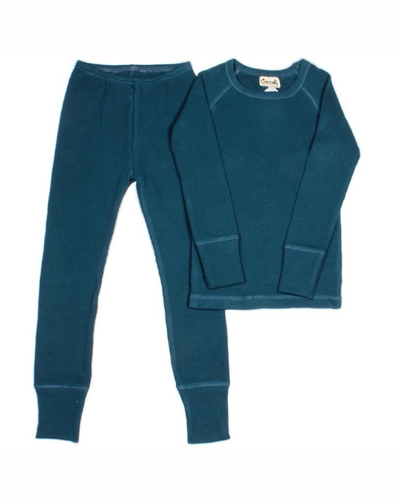 Blue Waffle Knit Pajama Set