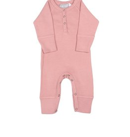 Baby Girl's Romper, Rose Waffle Knit