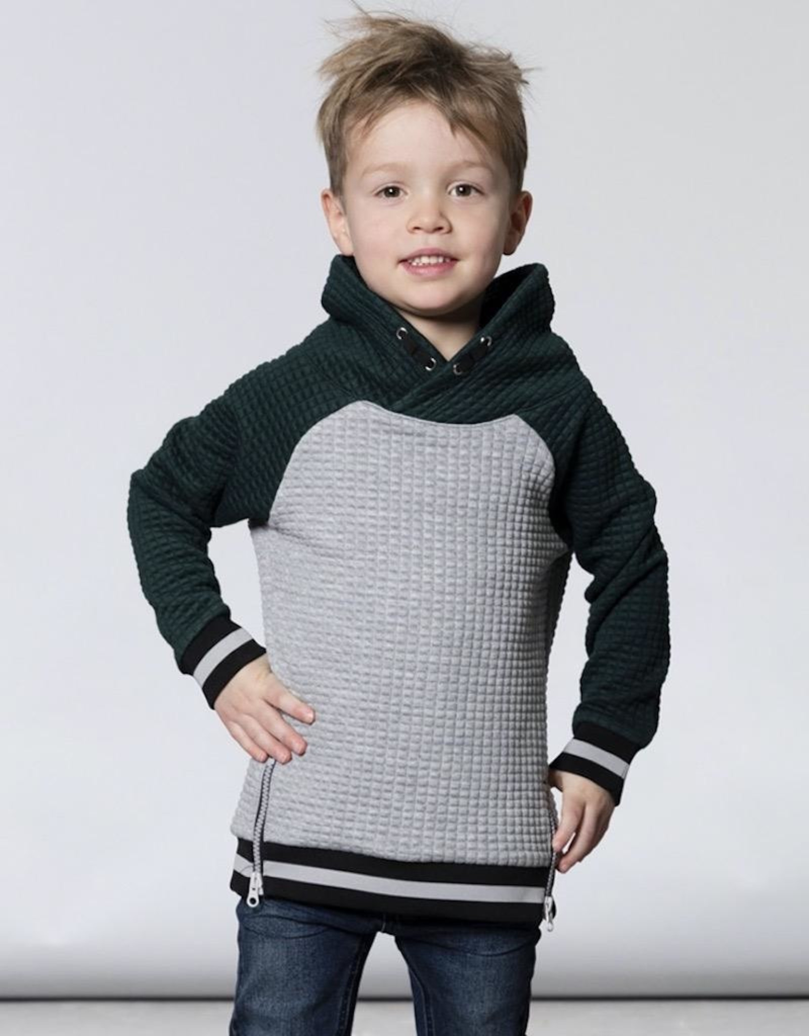 Deux Par Deux Grey & Forest Green Quilted Hoodie With Kangaroo Pocket