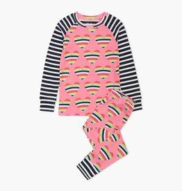 Hatley Rainbow Hearts Organic Cotton Raglan Pajama Set
