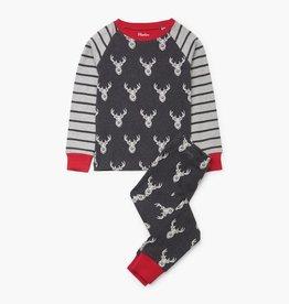 Hatley Patterned Stags Organic Cotton Raglan Pajama Set