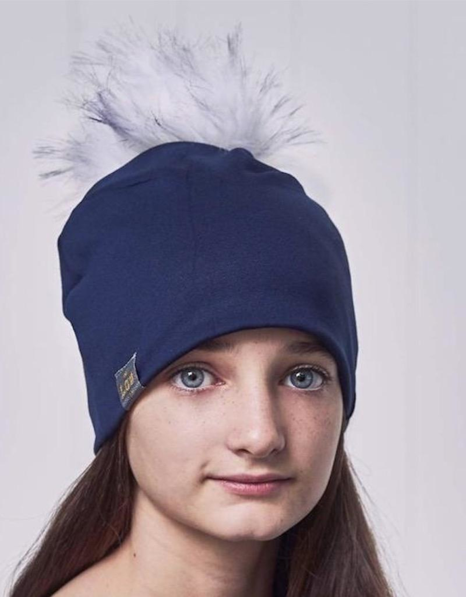Lox Lion Navy Blue Child Pom Pom Beanies