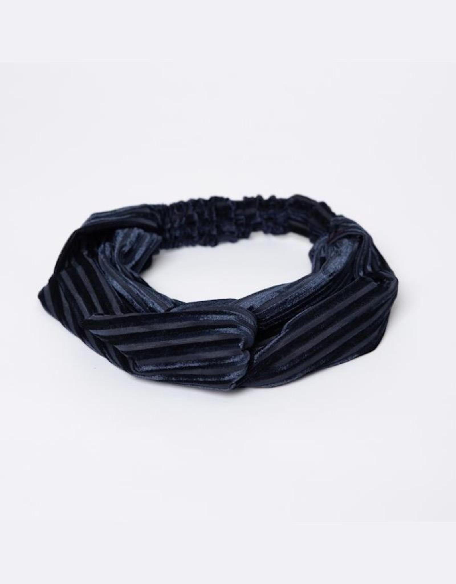 Lox Lion Navy Blue Velvet Twist Bow Headband