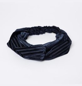 Lox Lion Navy Blue Velvet Twist Bow Headband
