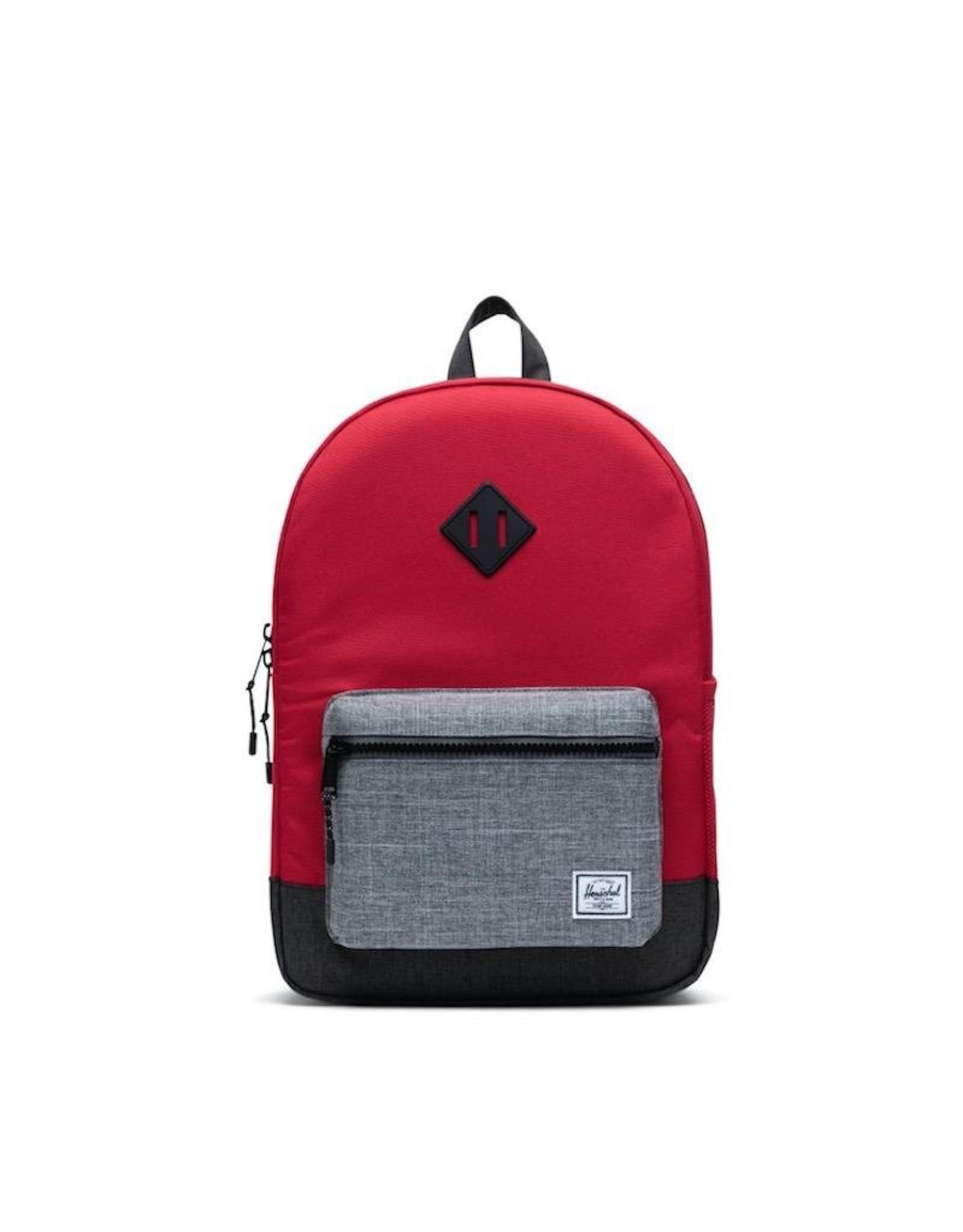 Herschel Supply Co. Herschel Supply, Heritage Backpack | Youth XL, Red/Raven Crosshatch/Black Crosshatch, 22L
