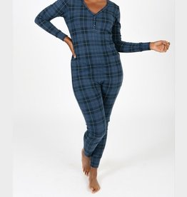 Smash + Tess The S+T Present in Plaid Romper in Blue Holiday Tartin
