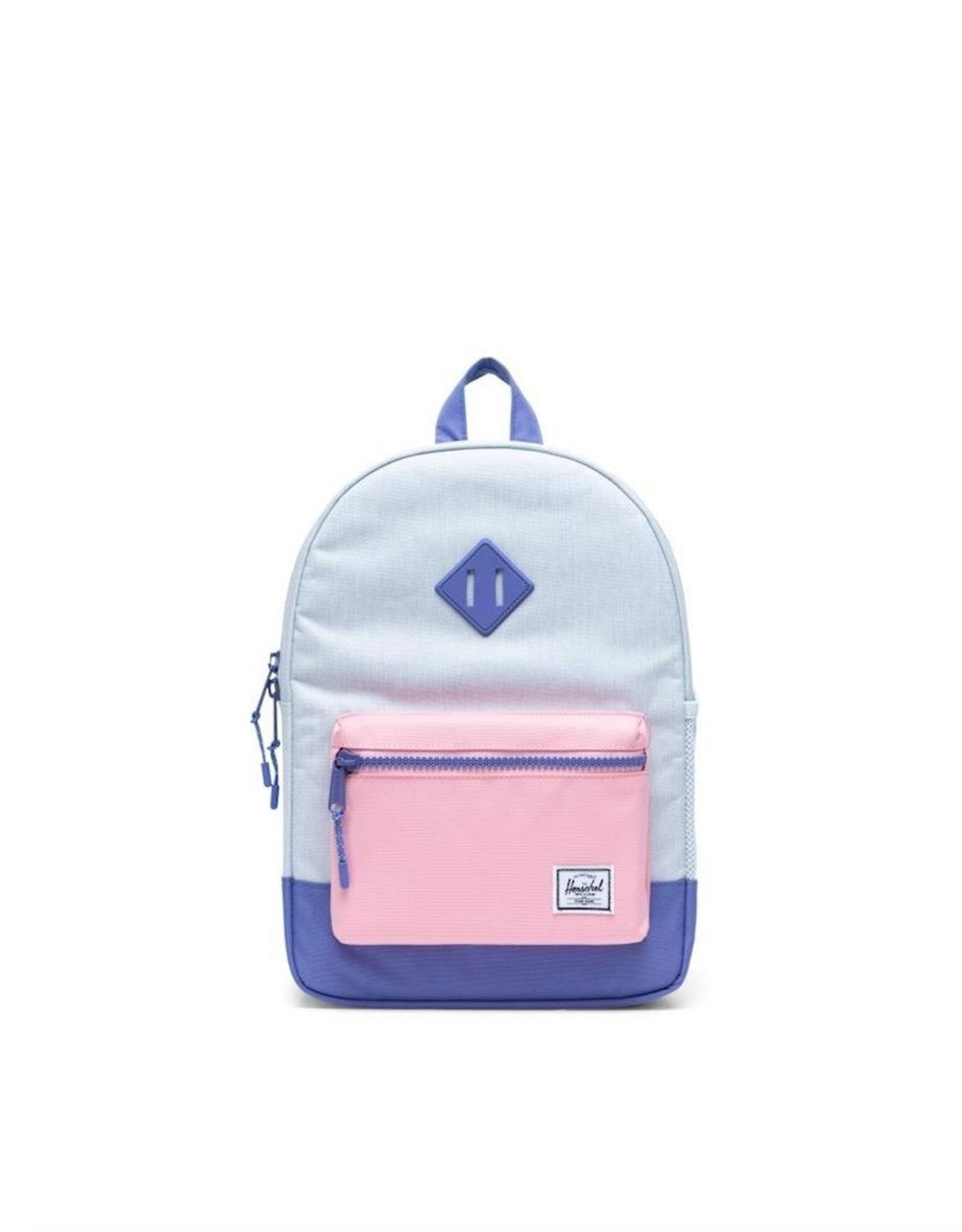 Herschel Supply Co. Heritage Backpack | Youth, Ballad Blue Pastel Crosshatch/Candy Pink/Dusted Peri, 16L