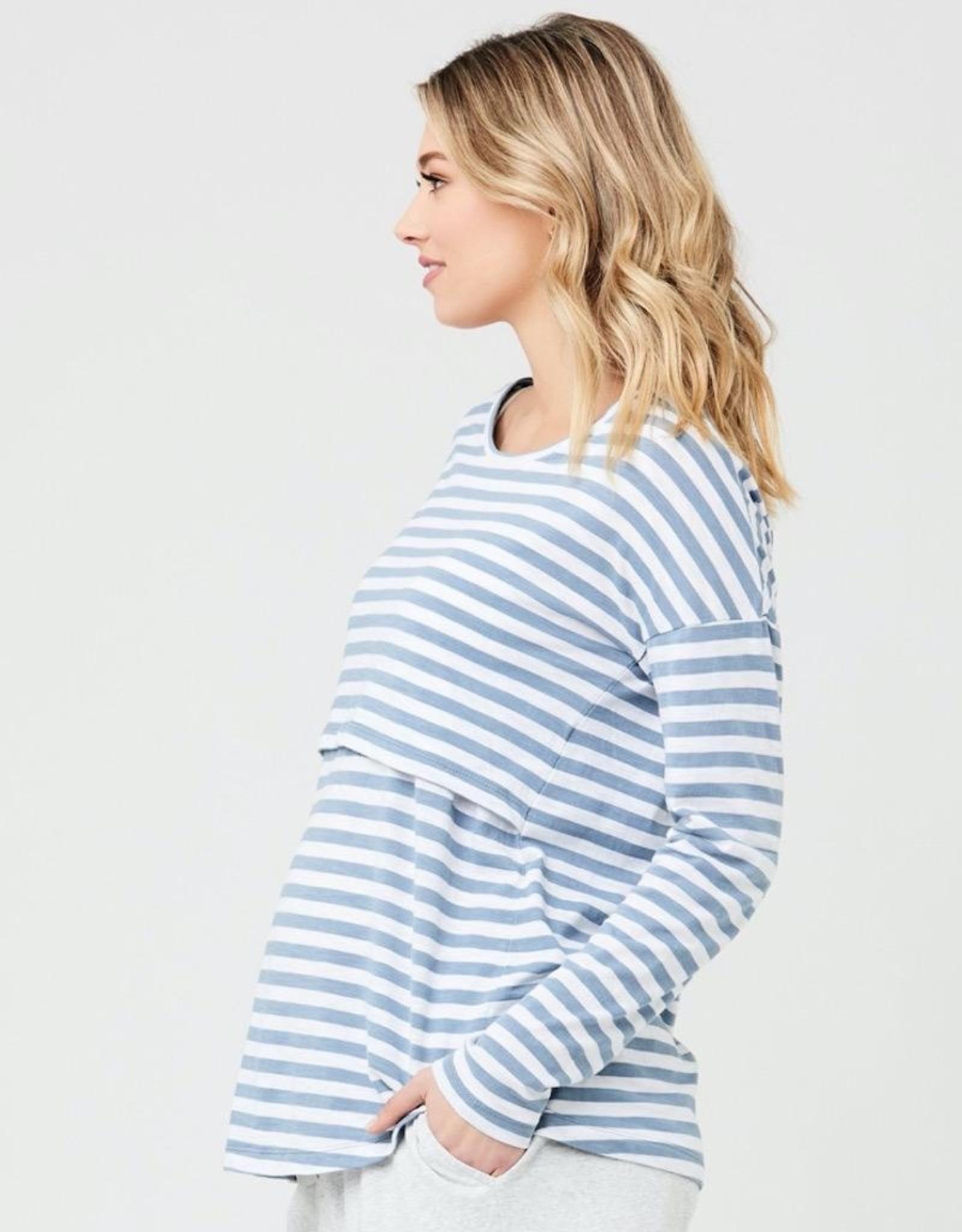 Ripe Maternity Lionel Long Sleeve Nursing Tee in Petrol / White