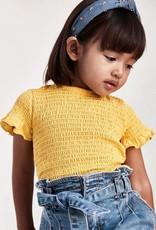 Mayoral Mustard Short Sleeved Smocked Stitching T-shirt