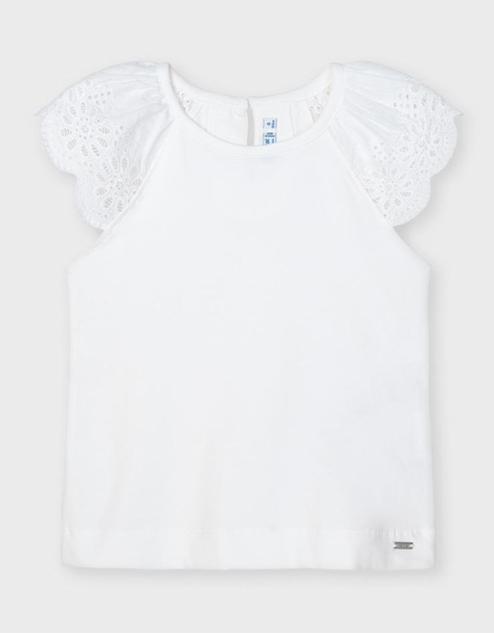 Mayoral White Perforated Sleeves S-shirt