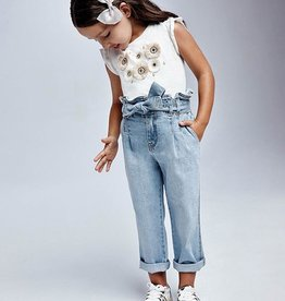 Mayoral Bleached Denim Slouchy Pants