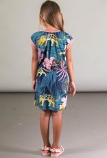 Deux Par Deux Short Sleeve Beach Dress with Cheetah Print