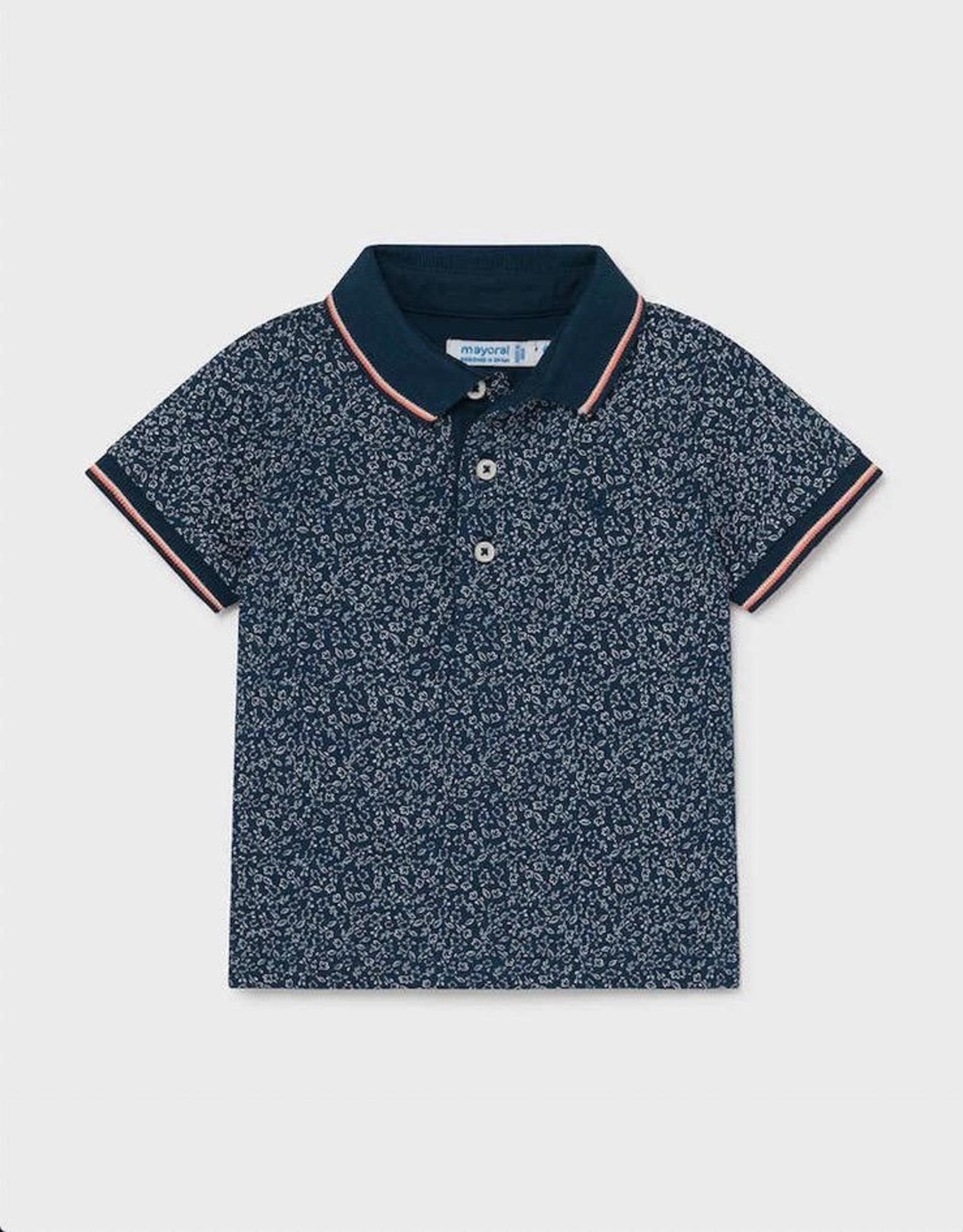 Mayoral Blue Micro Print Short Sleeved Polo Shirt