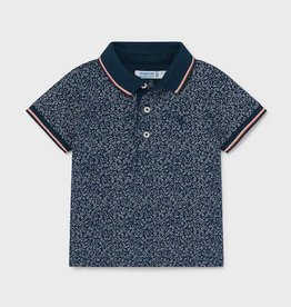 Mayoral Blue Micro Print Short Sleeved Polo Shirt