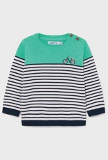 Mayoral Aqua Striped Bicycle Baby Sweater