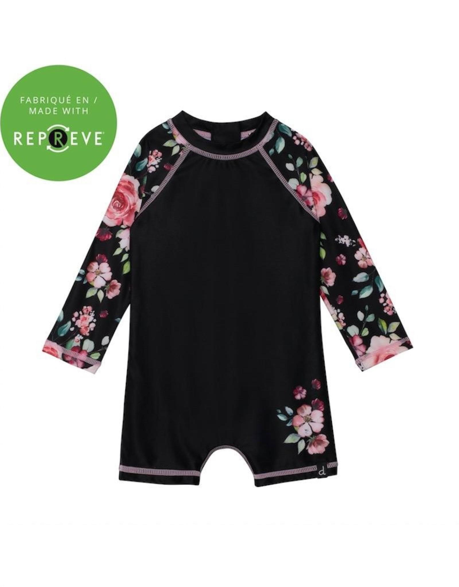 Deux Par Deux Floral Print Long Sleeve Romper Swimsuit
