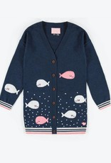 Souris Mini Blue Whale Knit Cardigan