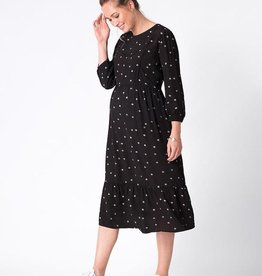 Seraphine Sorina Black Dot Maternity & Nursing Midi Dress