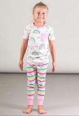 Deux Par Deux Organic Cotton Two Piece Pajama Set with Rainbows and Stripes