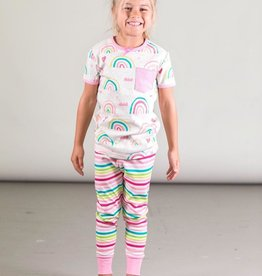 Deux Par Deux Organic Cotton Two Piece Pajama Set with Rainbows and Stripes