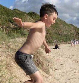 Me & Henry Surf, Black Grid Swim Shorts