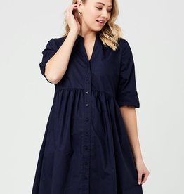 Ripe Maternity Navy Paige Poplin Dress