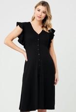 Ripe Maternity Black Riva Button Through Dress