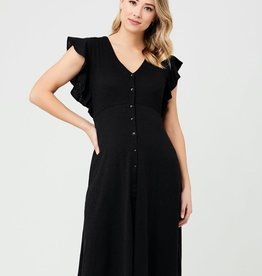 Ripe Maternity Black Riva Button Through Dress