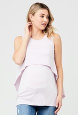 Ripe Maternity Lilac & White Stripe Swing Back Maternity & Nursing Tank