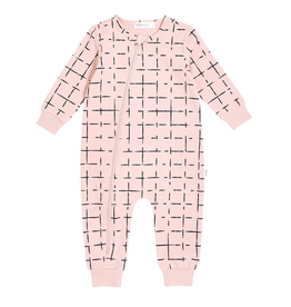 """Miles Basic"" Baby Playsuit, Pink, Geometric Tiles"