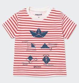 Mayoral Boat Print Short Sleeved stripes t-shirt