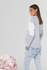 Legoe Heritage Nation Maternity and Nursing Sweater in White Grey & White