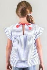 Deux Par Deux Short Sleeve Striped Poplin Blouse