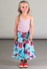 Deux Par Deux Wide Leg Jumpsuit with Red & Wite Stripe and Flower Print