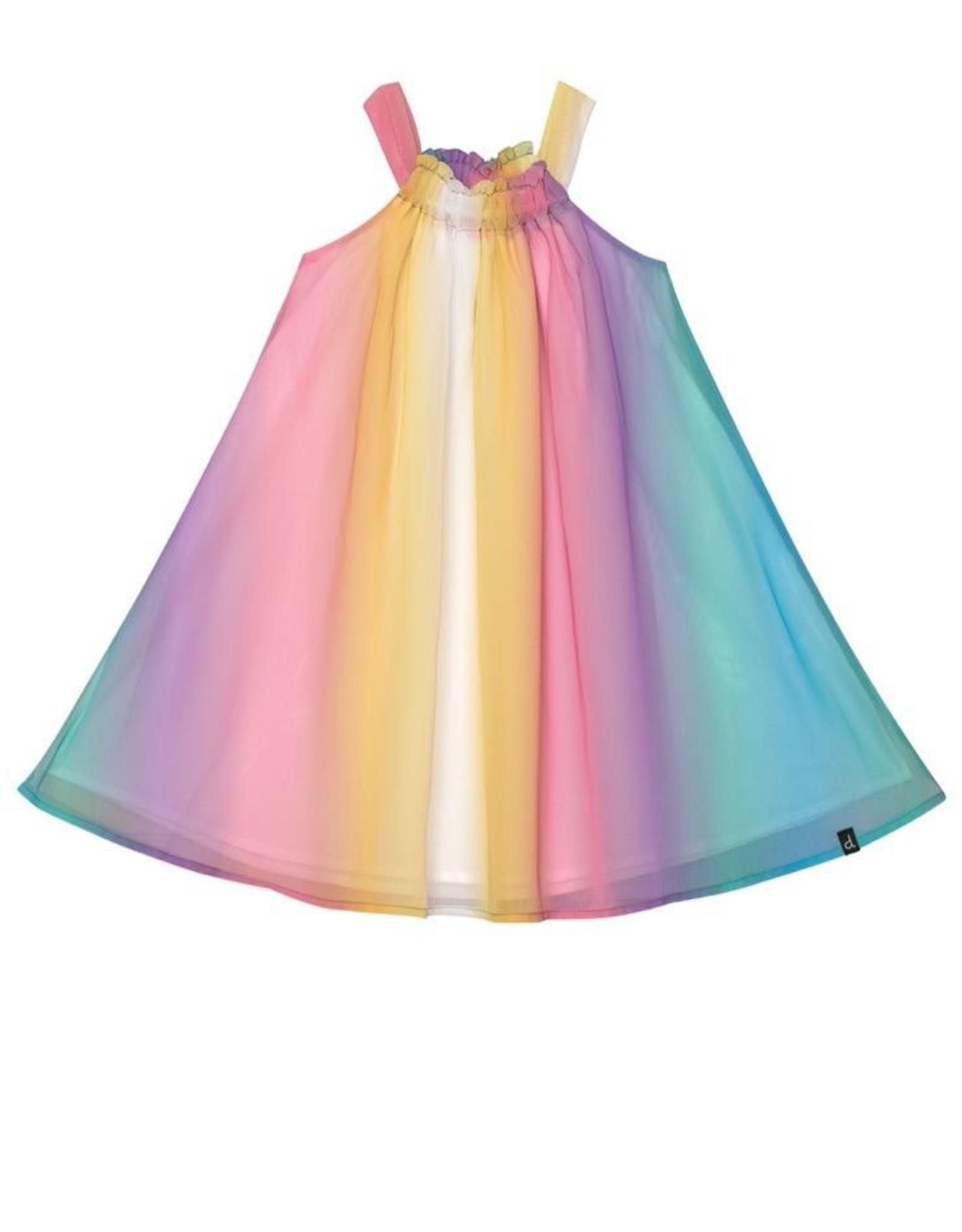 Deux Par Deux Chiffon Dress in Rainbow Stripe