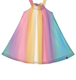 Deux Par Deux Chiffon Dress in Rainbow Stripe
