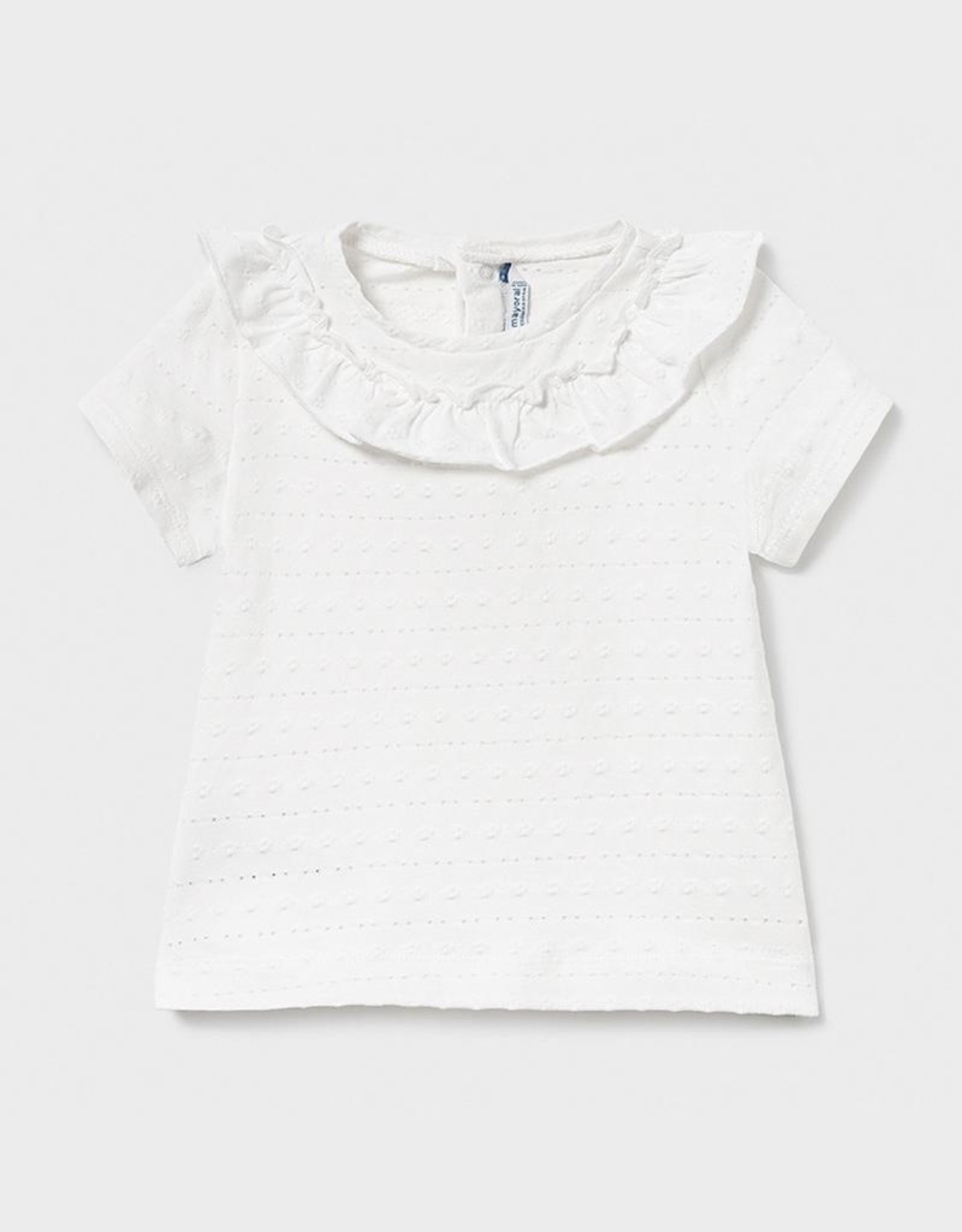 Mayoral Off White Ruffled Collar Baby T-Shirt